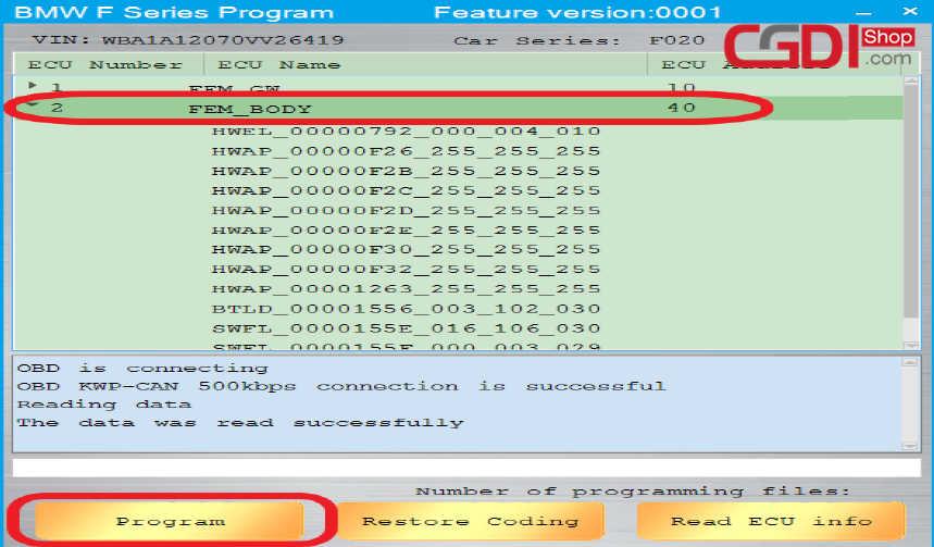 CGDI BMWでBMW Fシリーズのプログラム方法(3)