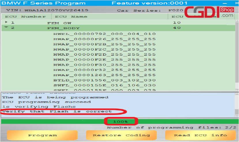 CGDI BMWでBMW Fシリーズのプログラム方法(7)